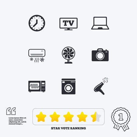 star award: Home appliances, device icons. Electronics signs. Air conditioning, washing machine and microwave oven symbols. Star vote ranking. Award achievement and quotes.