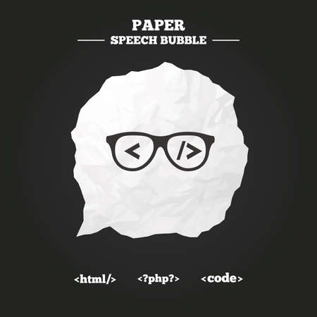 coder: Programmer coder glasses icon. HTML markup language and PHP programming language sign symbols. Paper speech bubble with icon.