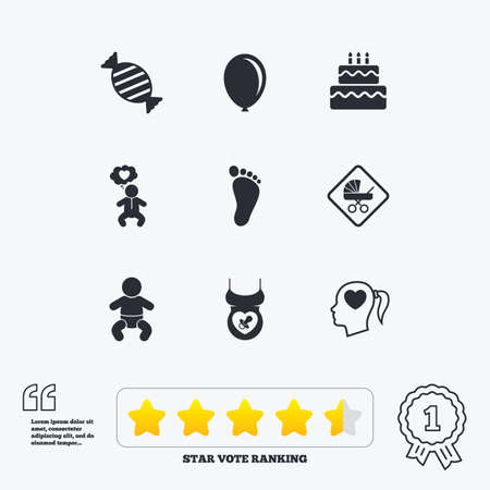star award: Pregnancy, maternity and baby care icons. Candy, strollers and pacifier signs. Footprint, birthday cake and heart symbols. Star vote ranking. Award achievement and quotes.
