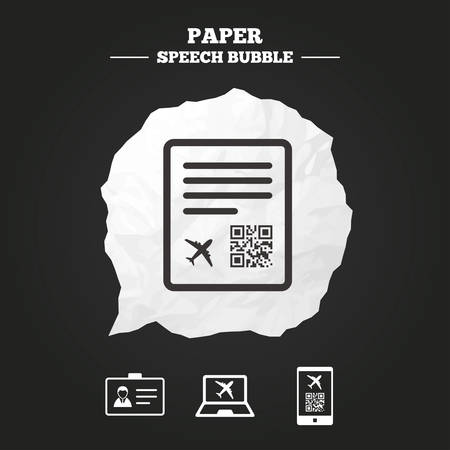 scan paper: QR scan code in smartphone icon. Boarding pass flight sign. Identity ID card badge symbol. Paper speech bubble with icon.