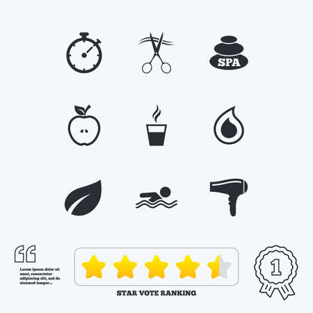 star award: Spa, hairdressing icons. Swimming pool sign. Water drop, scissors and hairdryer symbols. Star vote ranking. Award achievement and quotes.