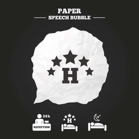 sign h: Five stars hotel icons. Travel rest place symbols. Human sleep in bed sign. Hotel 24 hours registration or reception. Paper speech bubble with icon.