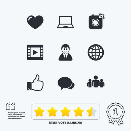 medal like: Social media icons. Video, share and chat signs. Human, photo camera and like symbols. Star vote ranking. Award achievement and quotes.