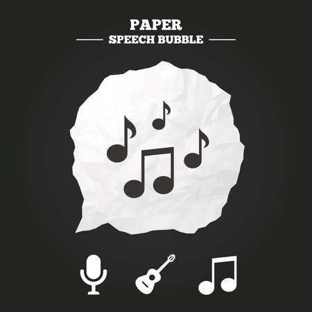 stereo cut: Music icons. Microphone karaoke symbol. Music notes and acoustic guitar signs. Paper speech bubble with icon.