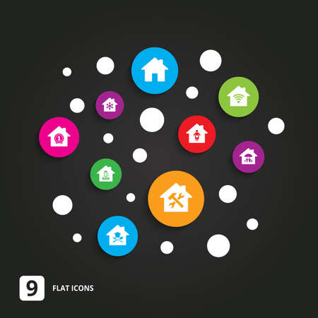 air hammer: Real estate icons. Home insurance, maternity hospital and wifi internet signs. Restaurant, service and air conditioning symbols. Flat circle buttons with icons on black.