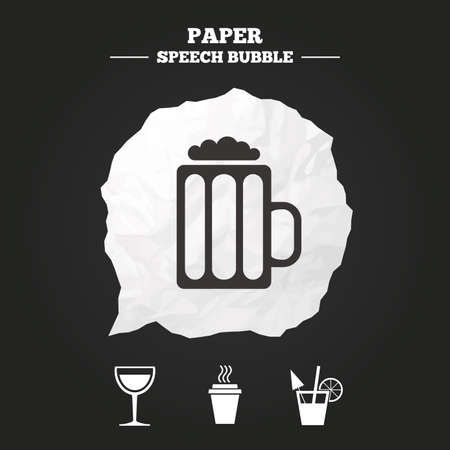 cut away: Drinks icons. Take away coffee cup and glass of beer symbols. Wine glass and cocktail signs. Paper speech bubble with icon.