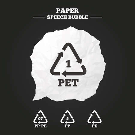 pp: PET 1, PP-pe 07, PP 5 and PE icons. High-density Polyethylene terephthalate sign. Recycling symbol. Paper speech bubble with icon. Illustration
