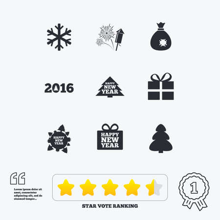 salut: Christmas, new year icons. Gift box, fireworks and snowflake signs. Santa bag, salut and rocket symbols. Star vote ranking. Award achievement and quotes.
