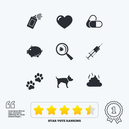 feces: Veterinary, pets icons. Dog paws, syringe and magnifier signs. Pills, heart and feces symbols. Star vote ranking. Award achievement and quotes.