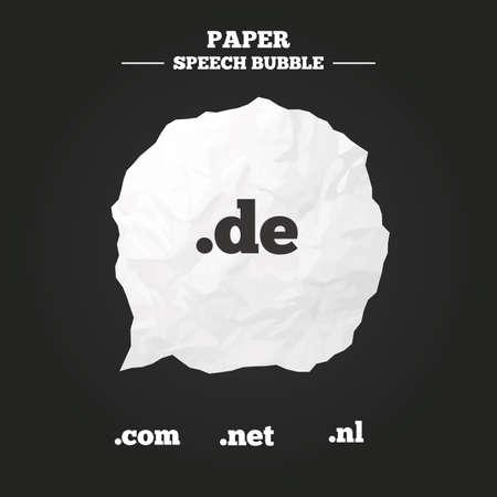 nl: Top-level internet domain icons. De, Com, Net and Nl symbols. Unique national DNS names. Paper speech bubble with icon.