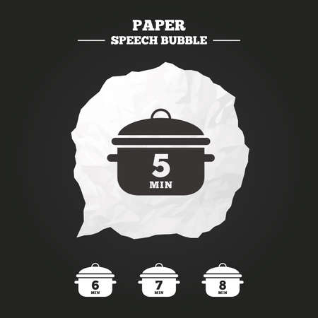 6 7: Cooking pan icons. Boil 5, 6, 7 and 8 minutes signs. Stew food symbol. Paper speech bubble with icon.