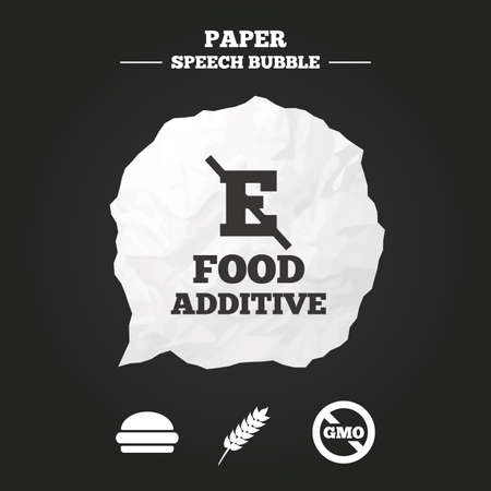 stabilizers: Food additive icon. Hamburger fast food sign. Gluten free and No GMO symbols. Without E acid stabilizers. Paper speech bubble with icon.