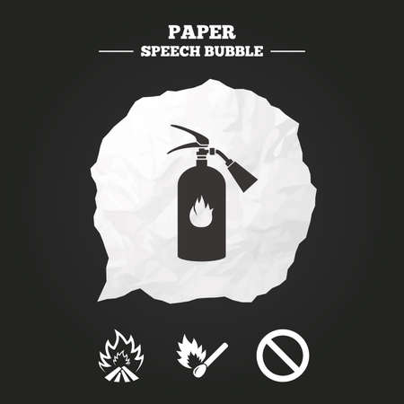burning paper: Fire flame icons. Fire extinguisher sign. Prohibition stop symbol. Burning matchstick. Paper speech bubble with icon. Illustration