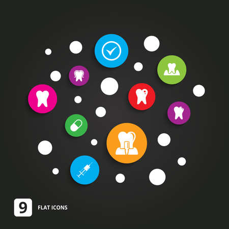 stomatologist: Tooth, dental care icons. Stomatology, syringe and implant signs. Healthy teeth, caries and pills symbols. Flat circle buttons with icons on black. Illustration