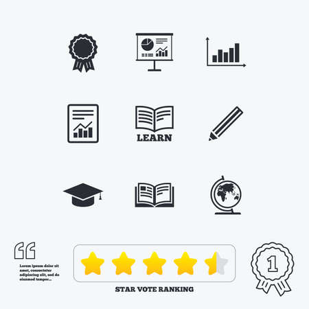 star award: Education and study icon. Presentation signs. Report, analysis and award medal symbols. Star vote ranking. Award achievement and quotes. Illustration