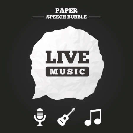 stereo cut: Musical elements icons. Microphone and Live music symbols. Music note and acoustic guitar signs. Paper speech bubble with icon.