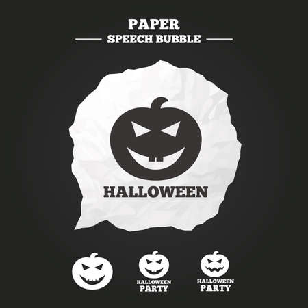 hallows: Halloween pumpkin icons. Halloween party sign symbol. All Hallows Day celebration. Paper speech bubble with icon.