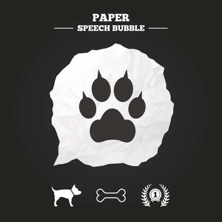 talk bubble: Pets icons. Cat paw with clutches sign. Winner laurel wreath and medal symbol. Pets food. Paper speech bubble with icon.