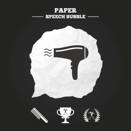 comb out: Hairdresser icons. Scissors cut hair symbol. Comb hair with hairdryer symbol. Barbershop laurel wreath winner award. Paper speech bubble with icon.