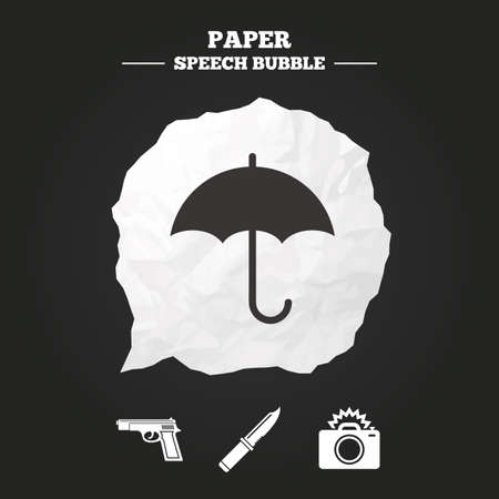 edged: Gun weapon icon.Knife, umbrella and photo camera with flash signs. Edged hunting equipment. Prohibition objects. Paper speech bubble with icon.