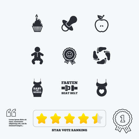 newborn footprint: Pregnancy, maternity and baby care icons. Apple, award and pacifier signs. Footprint, birthday cake and newborn symbols. Star vote ranking. Award achievement and quotes. Illustration