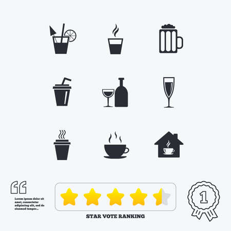 take away: Tea, coffee and beer icons. Beer, wine and cocktail signs. Take away drinks. Star vote ranking. Award achievement and quotes.