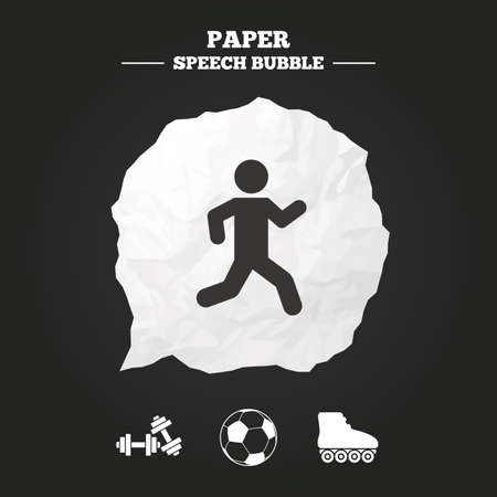 rollerblades: Football ball, Roller skates, Running icons. Fitness sport symbols. Gym workout equipment. Paper speech bubble with icon.