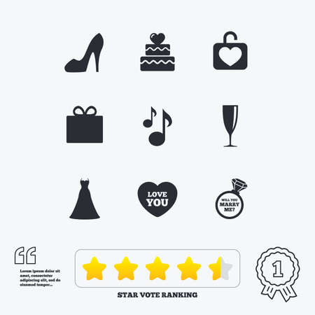 brilliant heart: Wedding, engagement icons. Cake with heart, gift box and brilliant signs. Dress, shoes and musical notes symbols. Star vote ranking. Award achievement and quotes.
