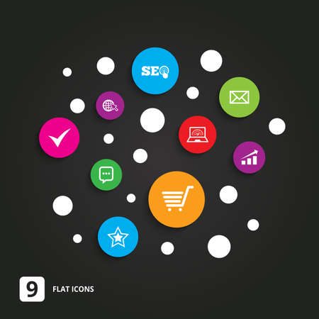 bandwidth: Internet, seo icons. Tick, online shopping and chart signs. Bandwidth, mobile device and chat symbols. Flat circle buttons with icons on black.