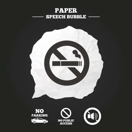 private public: Stop smoking and no sound signs. Private territory parking or public access. Cigarette symbol. Speaker volume. Paper speech bubble with icon. Illustration