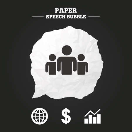 paper currency: Business icons. Graph chart and globe signs. Dollar currency and group of people symbols. Paper speech bubble with icon.