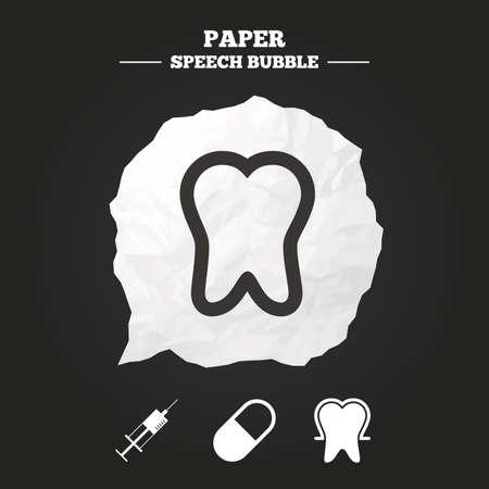 comunicacion oral: Iconos de la protecci�n del esmalte dental. Jeringuilla m�dica y p�ldoras signos. S�mbolo de inyecci�n de Medicina. Burbuja de papel del discurso con el icono.