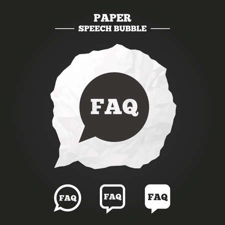 internet mark: FAQ information icons. Help speech bubbles symbols. Circle and square talk signs. Paper speech bubble with icon.