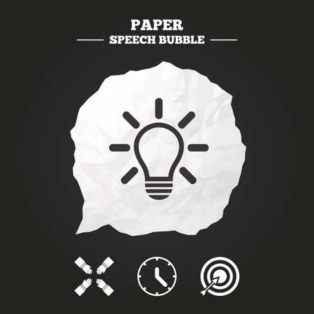 set the intention: Lamp idea and clock time icons. Target aim sign. Darts board with arrow. Teamwork symbol. Paper speech bubble with icon. Illustration