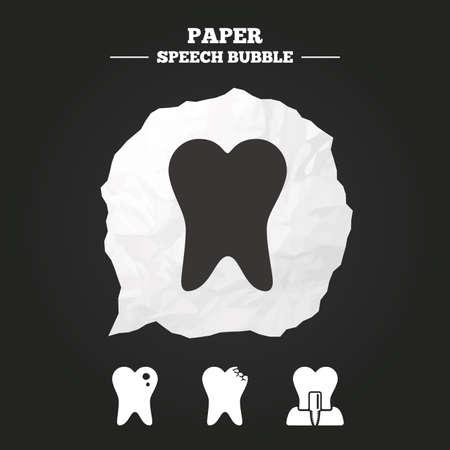 comunicacion oral: Iconos del cuidado dental. Caries signo diente. Diente s�mbolo implante intra�seo. Burbuja de papel del discurso con el icono.