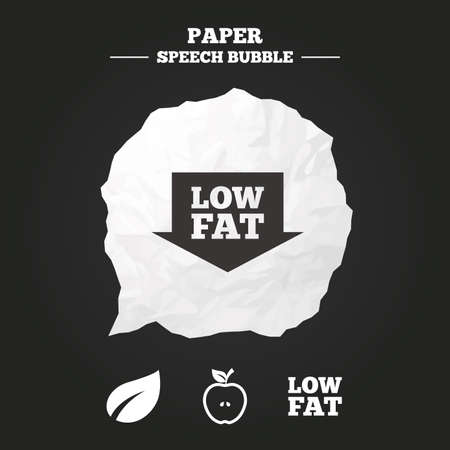 lowfat: Low fat arrow icons. Diets and vegetarian food signs. Apple with leaf symbol. Paper speech bubble with icon.