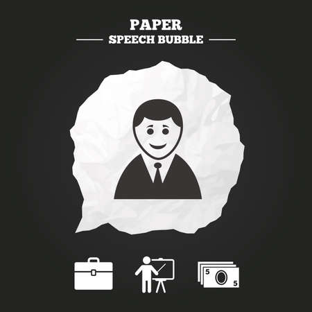 paper case: Businessman icons. Human silhouette and cash money signs. Case and presentation symbols. Paper speech bubble with icon. Illustration