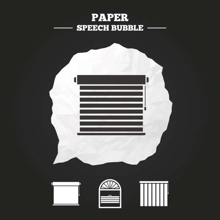 Louvers icons. Plisse, rolls, vertical and horizontal. Window blinds or jalousie symbols. Paper speech bubble with icon.