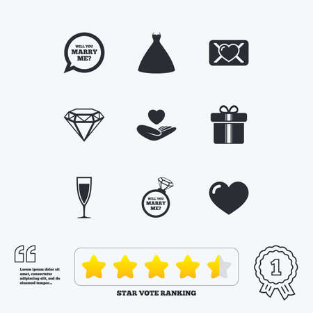 oath: Wedding, engagement icons. Love oath letter, gift box and brilliant signs. Dress, heart and champagne glass symbols. Star vote ranking. Award achievement and quotes.