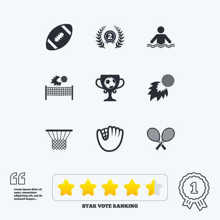 star award: Sport games, fitness icons. Football, golf and baseball signs. Swimming, rugby and winner medal symbols. Star vote ranking. Award achievement and quotes. Illustration