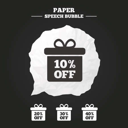 20 30: Sale gift box tag icons. Discount special offer symbols. 10%, 20%, 30% and 40% percent off signs. Paper speech bubble with icon. Illustration