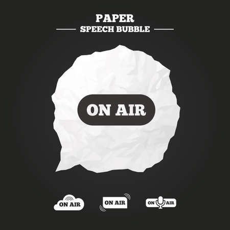 live stream radio: On air icons. Live stream signs. Microphone symbol. Paper speech bubble with icon.