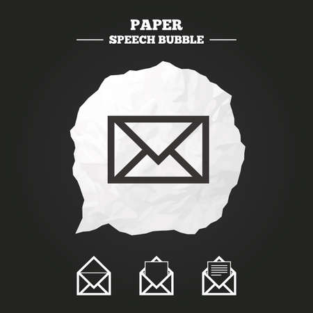 webmail: Mail envelope icons. Message document symbols. Post office letter signs. Paper speech bubble with icon. Illustration