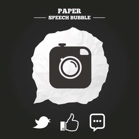 speak out: Hipster photo camera icon. Like and Chat speech bubble sign. Hand thumb up. Bird symbol. Paper speech bubble with icon. Illustration