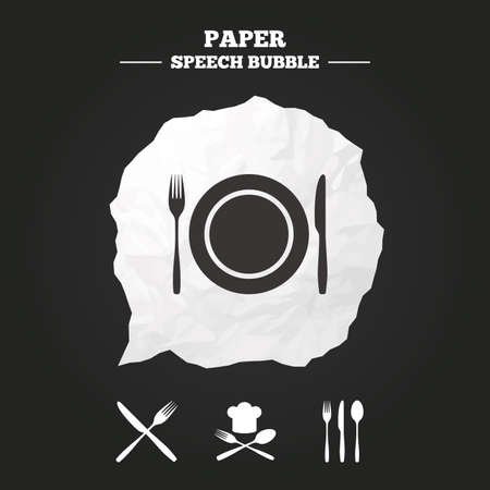 restaurant food: Plate dish with forks and knifes icons. Chief hat sign. Crosswise cutlery symbol. Dining etiquette. Paper speech bubble with icon.