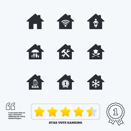 air hammer: Real estate icons. Home insurance, maternity hospital and wifi internet signs. Restaurant, service and air conditioning symbols. Star vote ranking. Award achievement and quotes.