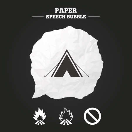 burn out: Tourist camping tent icon. Fire flame and stop prohibition sign symbols. Paper speech bubble with icon.