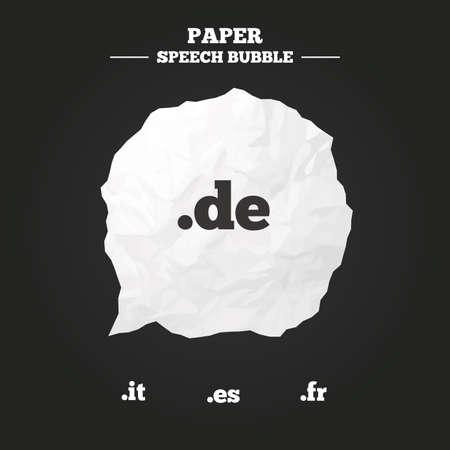 dns: Top-level internet domain icons. De, It, Es and Fr symbols. Unique national DNS names. Paper speech bubble with icon.
