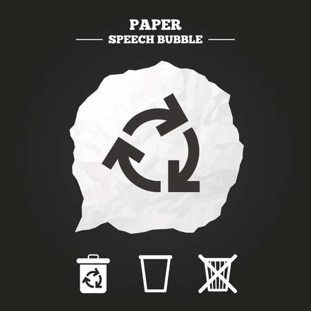 reduce: Recycle bin icons. Reuse or reduce symbols. Trash can and recycling signs. Paper speech bubble with icon. Illustration