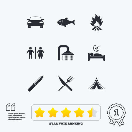 trek: Hiking travel icons. Camping, shower and wc toilet signs. Tourist tent, fork and knife symbols. Star vote ranking. Award achievement and quotes. Illustration